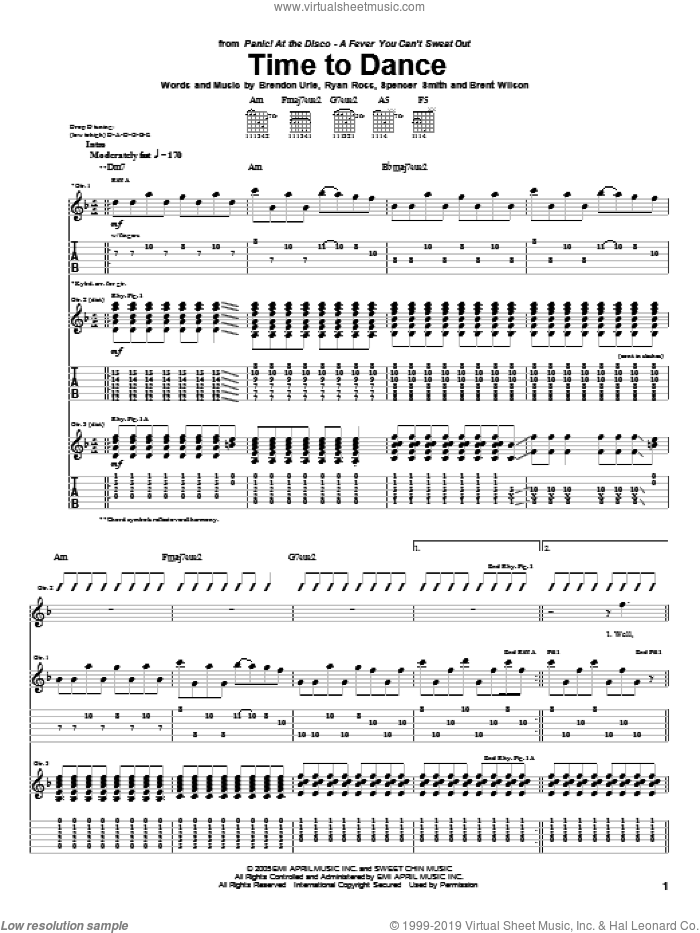 Time To Dance sheet music for guitar (tablature) by Panic! At The Disco. Score Image Preview.