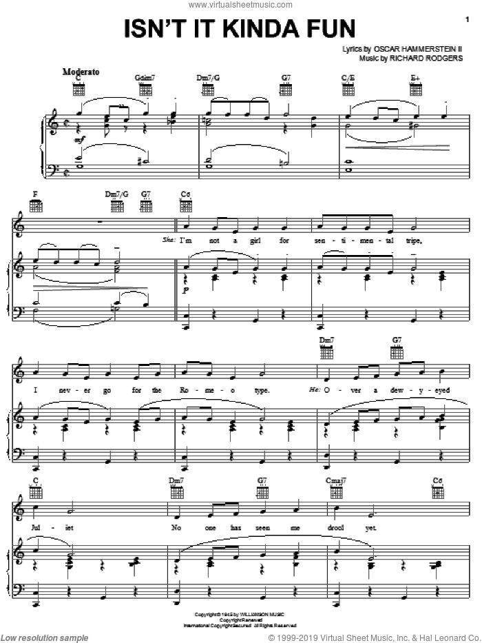 Isn't It Kinda Fun sheet music for voice, piano or guitar by Rodgers & Hammerstein, State Fair (Musical), Oscar II Hammerstein and Richard Rodgers, intermediate skill level