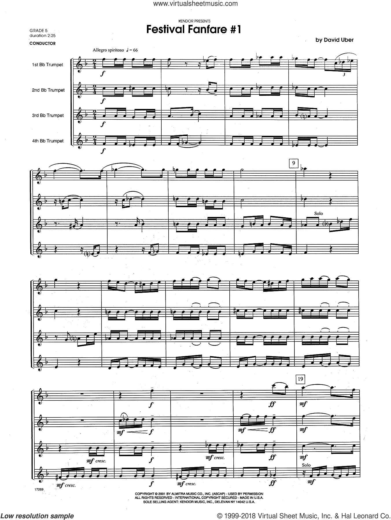 Festival Fanfare #1 (COMPLETE) sheet music for trumpet quartet by David Uber, intermediate skill level