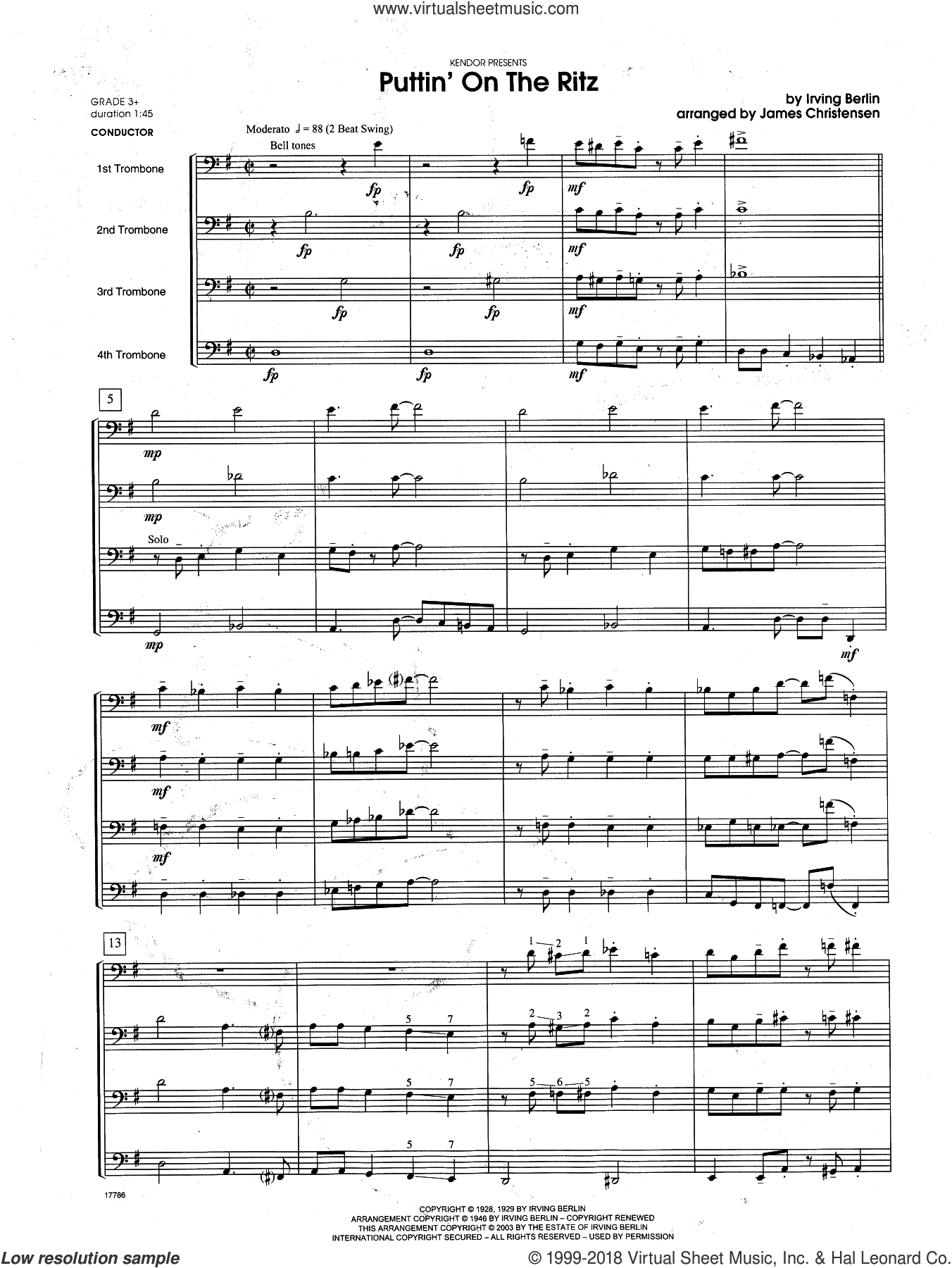 Puttin' on the Ritz (COMPLETE) sheet music for trombone quartet by Berlin and James Christensen, intermediate. Score Image Preview.