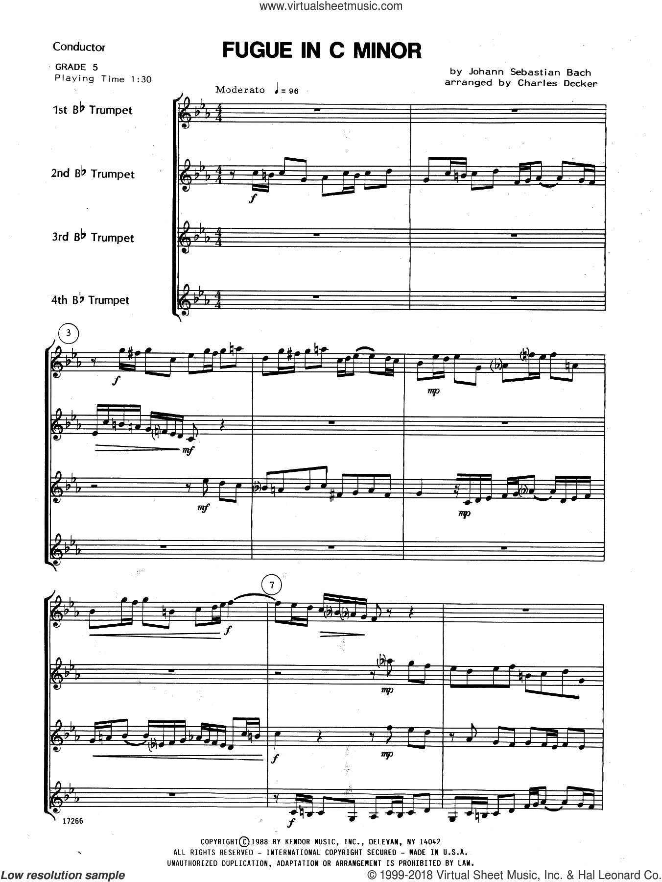 Fugue In C Minor (COMPLETE) sheet music for trumpet quartet by Johann Sebastian Bach and Charles Decker, classical score, intermediate. Score Image Preview.