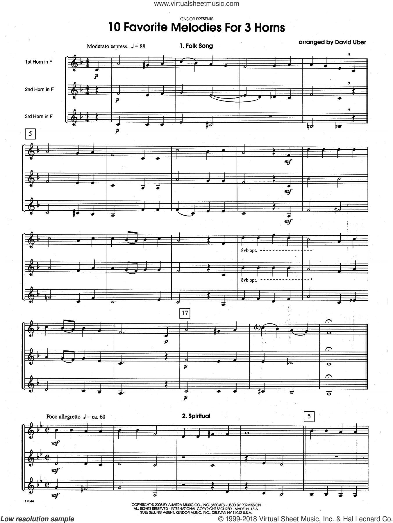 10 Favorite Melodies For 3 Horns (COMPLETE) sheet music for horn trio by David Uber, classical score, intermediate. Score Image Preview.
