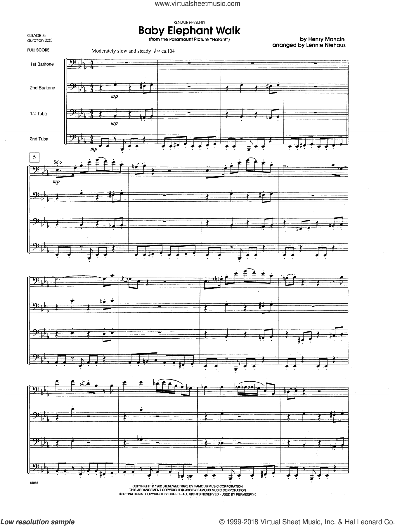 Baby Elephant Walk (From The Paramount Picture 'Hatari!') (COMPLETE) sheet music for brass quartet by Henry Mancini and Lennie Niehaus, intermediate skill level