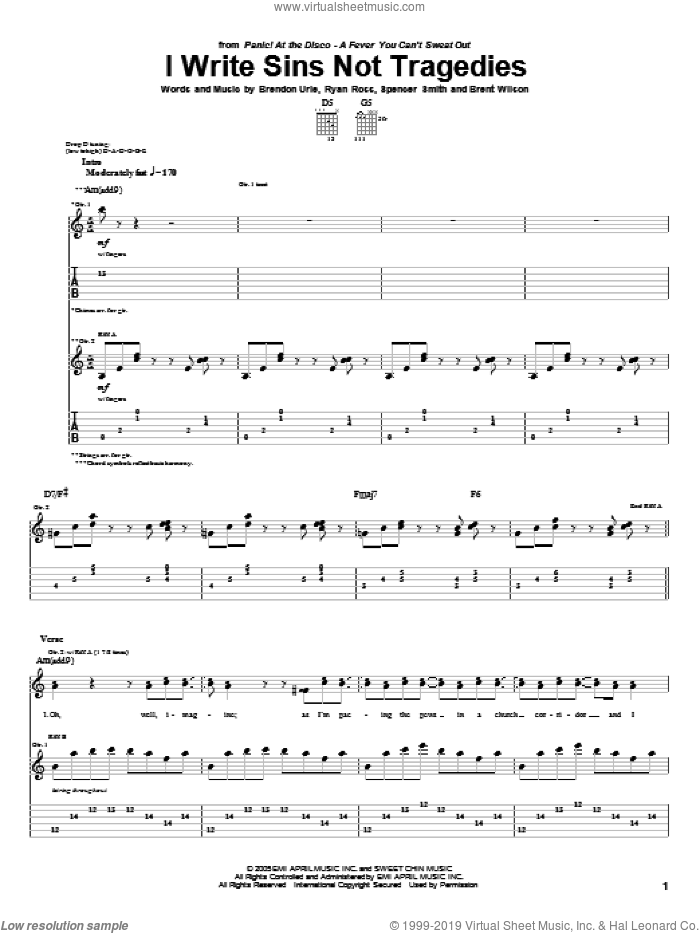 I Write Sins Not Tragedies sheet music for guitar (tablature) by Panic! At The Disco. Score Image Preview.
