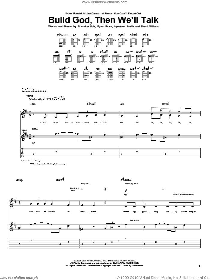 Build God, Then We'll Talk sheet music for guitar (tablature) by Panic! At The Disco, Brendon Urie, Brent Wilson, Ryan Ross and Spencer Smith, intermediate skill level