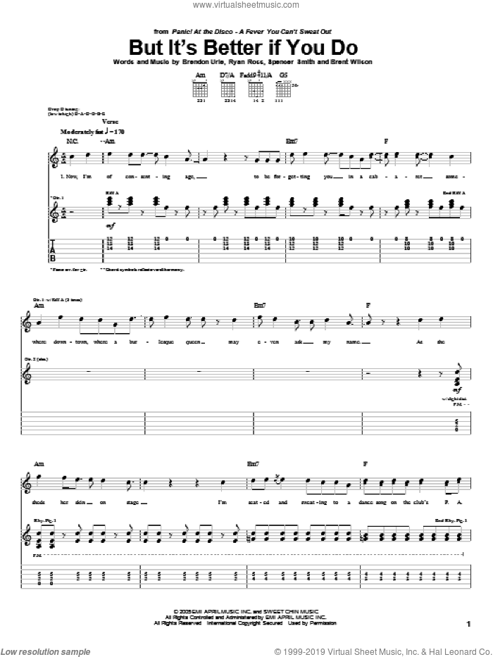 But It's Better If You Do sheet music for guitar (tablature) by Panic! At The Disco, Brendon Urie, Brent Wilson, Ryan Ross and Spencer Smith, intermediate skill level