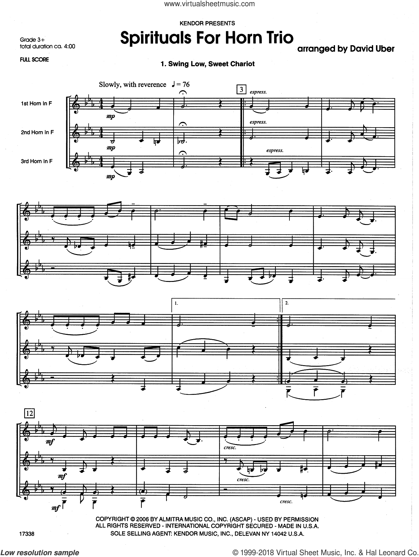 Spirituals For Horn Trio sheet music for horn trio (full score) by David Uber