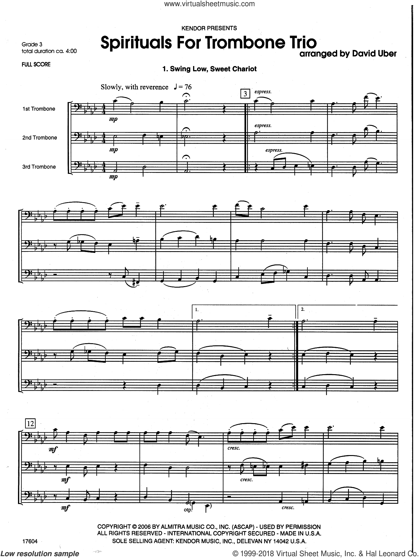 Spirituals For Trombone Trio (COMPLETE) sheet music for trombone trio by David Uber, intermediate skill level