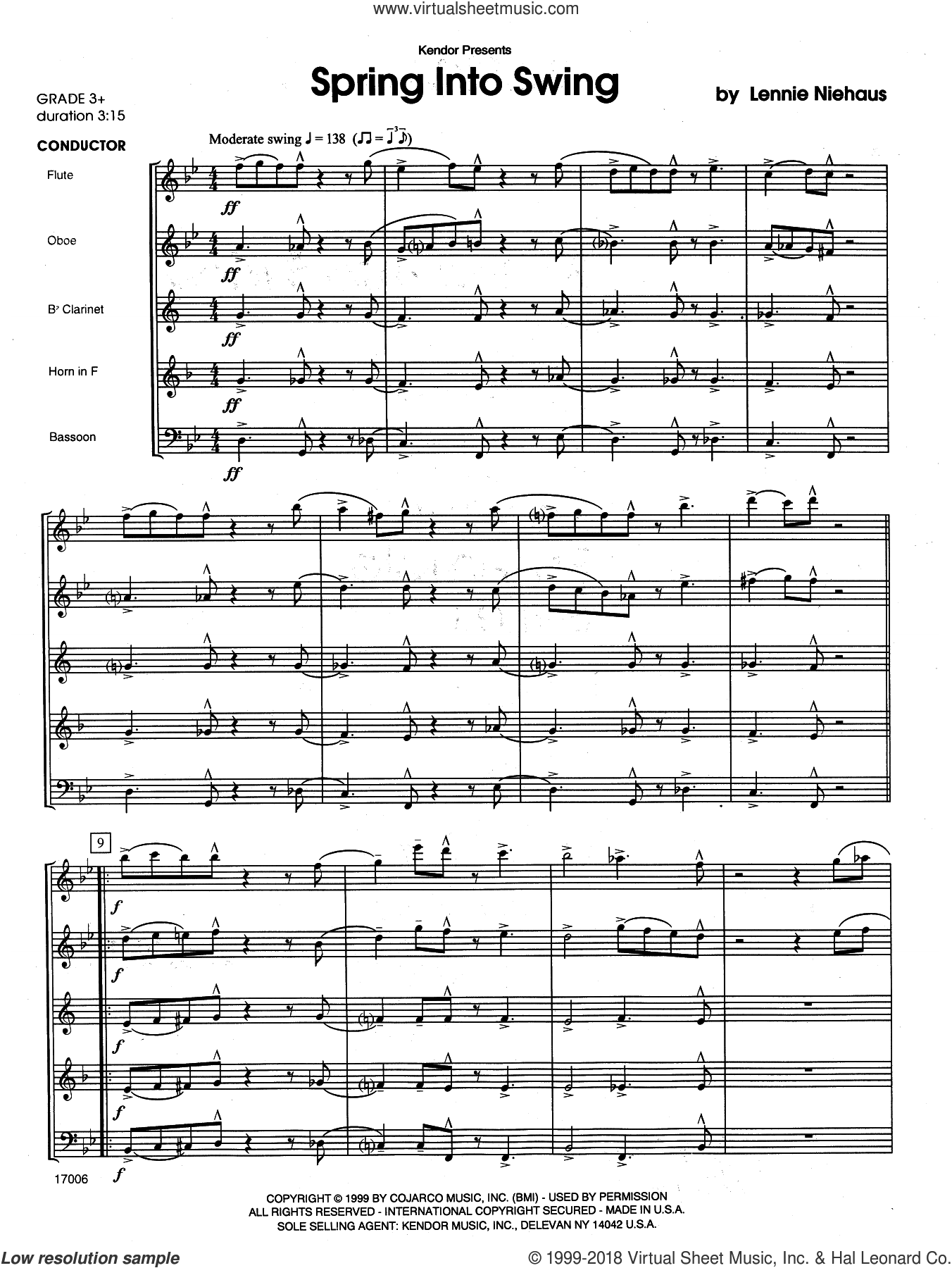 Spring Into Swing (COMPLETE) sheet music for wind quintet by Lennie Niehaus, intermediate