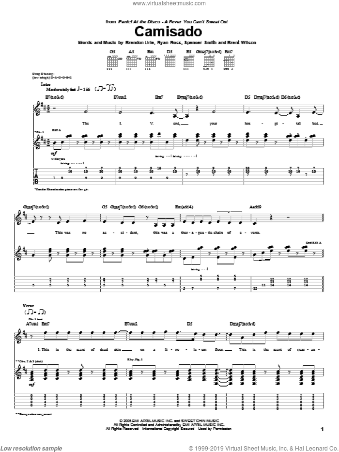 Camisado sheet music for guitar (tablature) by Spencer Smith and Brendon Urie. Score Image Preview.