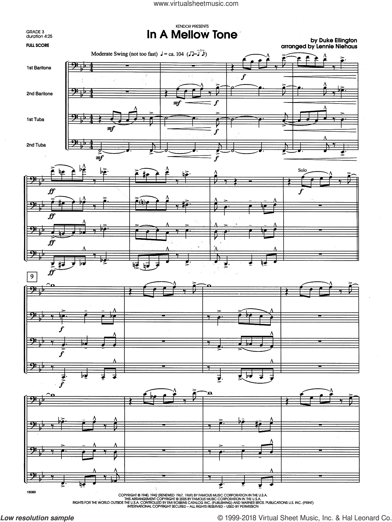 In a Mellow Tone (COMPLETE) sheet music for brass quartet by Duke Ellington and Lennie Niehaus, intermediate. Score Image Preview.
