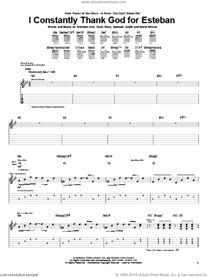 I Constantly Thank God For Esteban sheet music for guitar (tablature) by Spencer Smith and Brendon Urie. Score Image Preview.