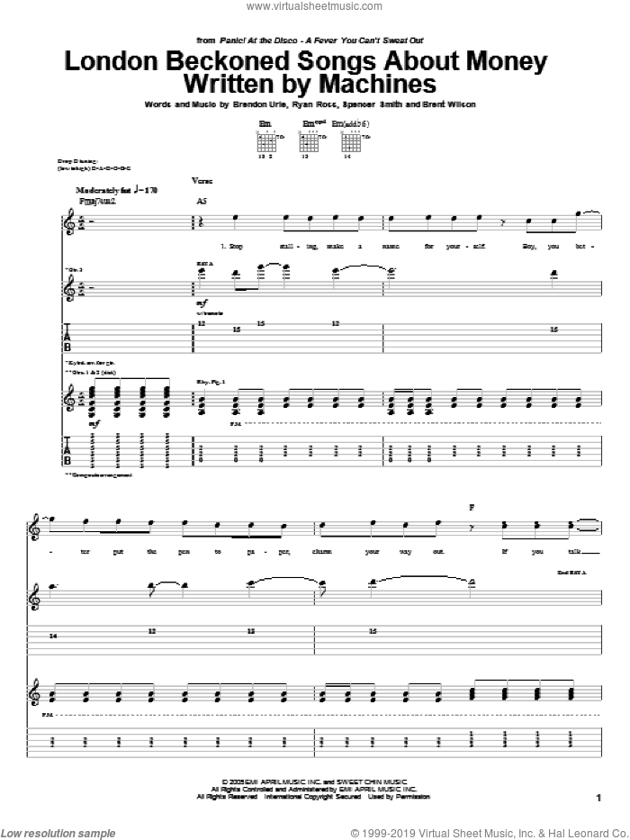 London Beckoned Songs About Money Written By Machines sheet music for guitar (tablature) by Spencer Smith and Brendon Urie. Score Image Preview.