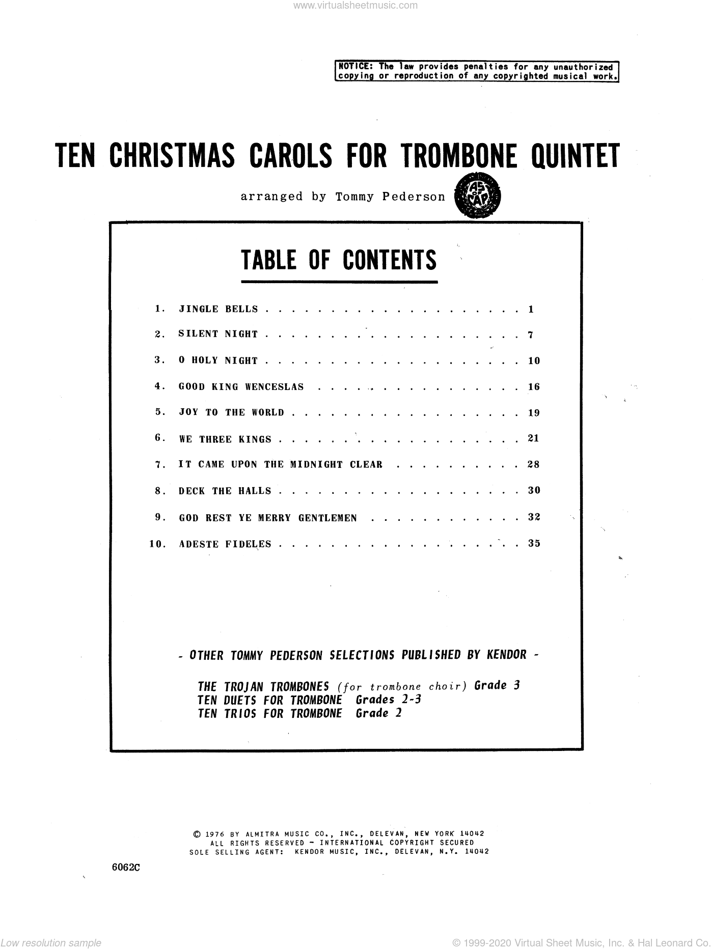 Ten Christmas Carols For Trombone Quintet/Full Score sheet music for trombone quintet by Tommy Pederson. Score Image Preview.