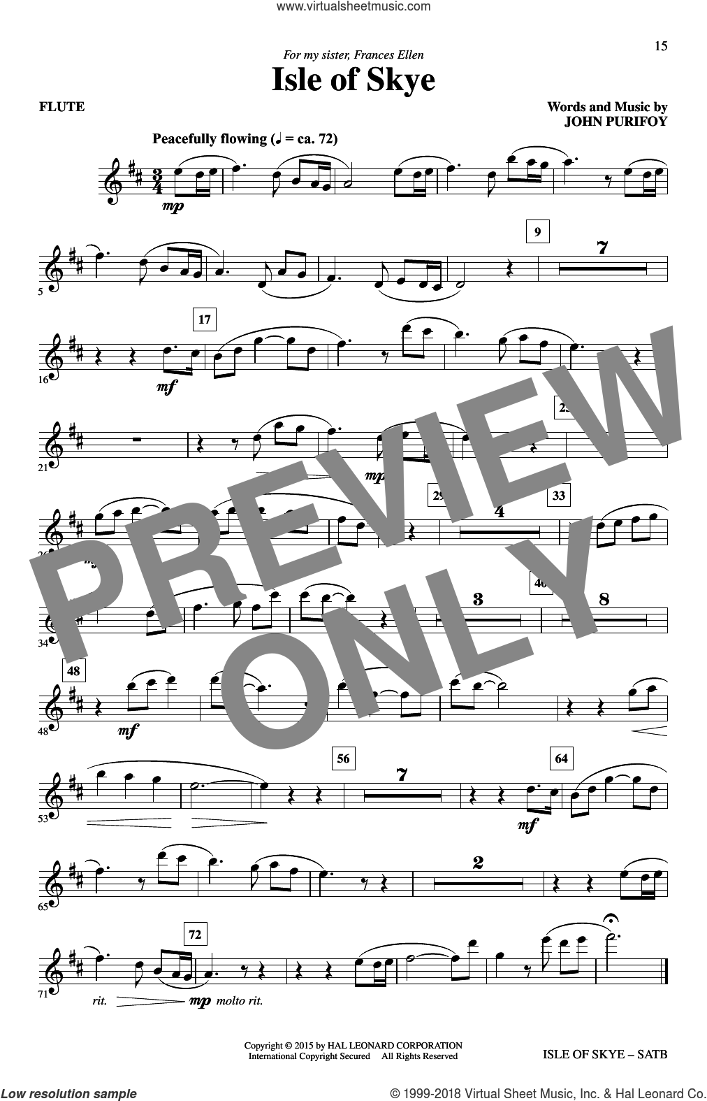 Isle Of Skye sheet music for choir (SATB) by John Purifoy. Score Image Preview.