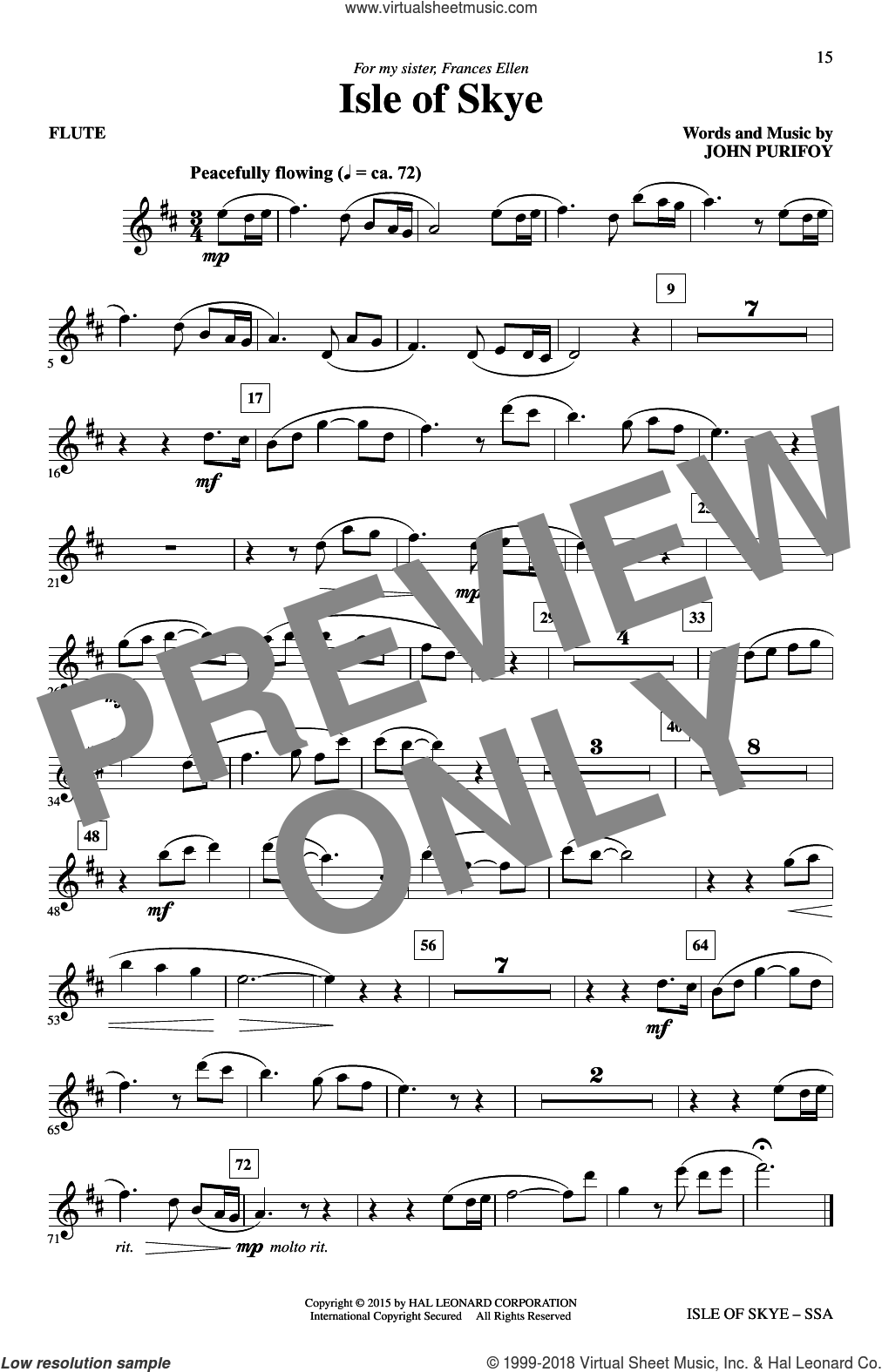 Isle Of Skye sheet music for choir (SSA: soprano, alto) by John Purifoy, intermediate skill level