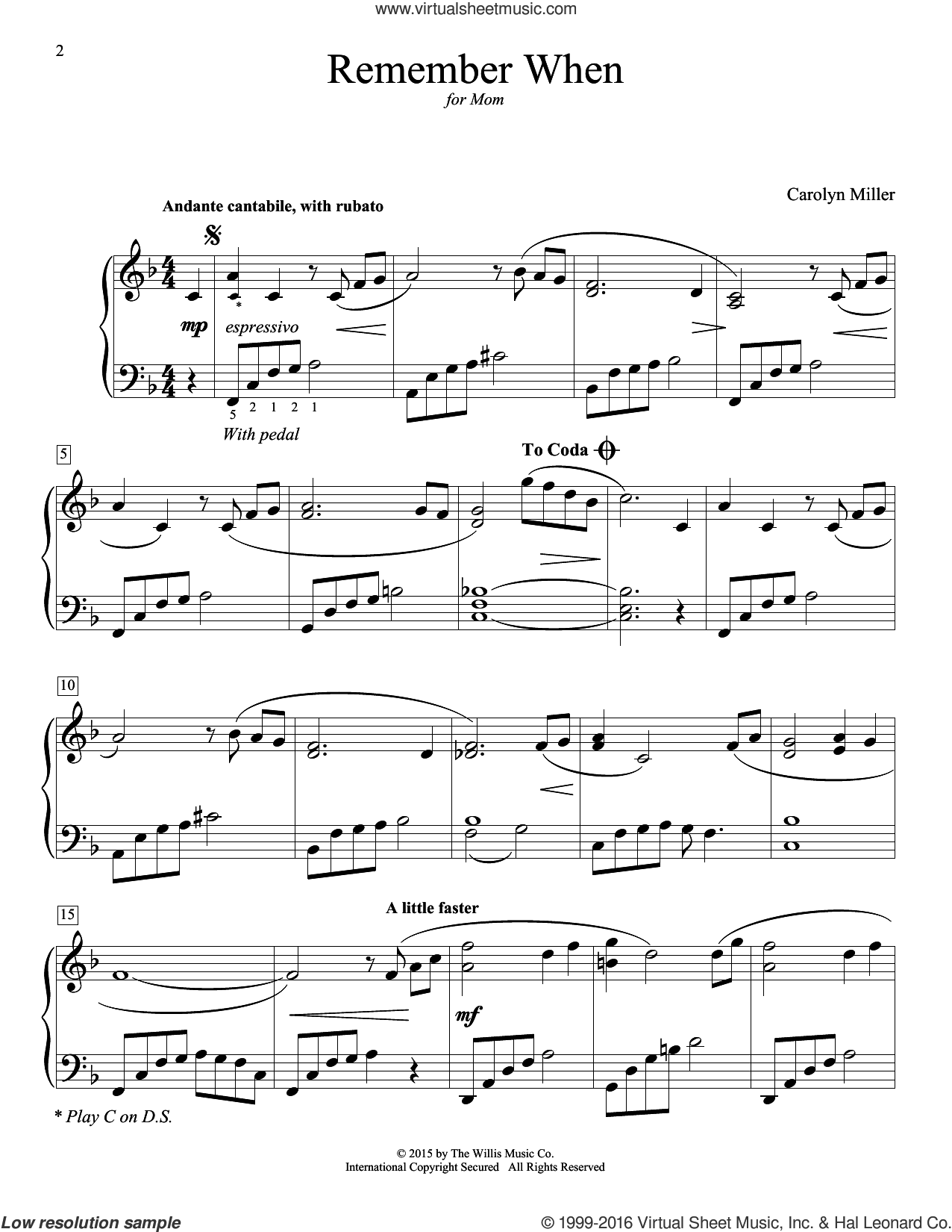 Remember When sheet music for piano solo (elementary) by Carolyn Miller, beginner piano (elementary)