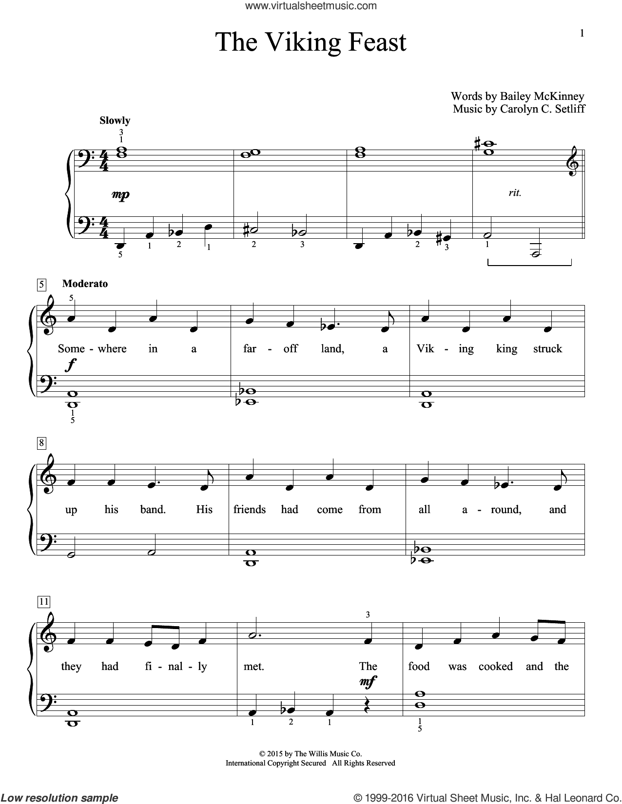 The Viking Feast sheet music for piano solo (elementary) by Carolyn C. Setliff, beginner piano (elementary). Score Image Preview.