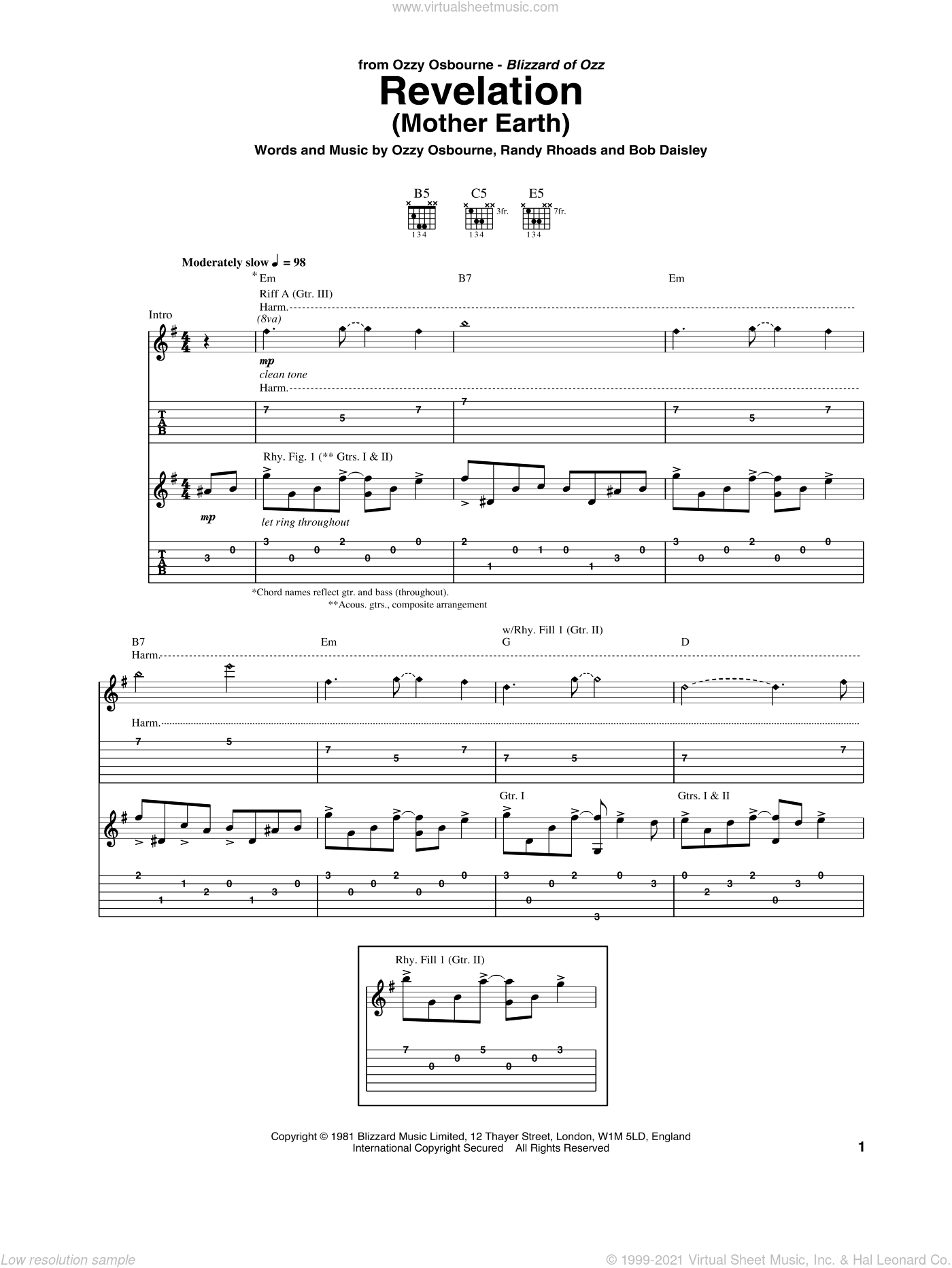 Revelation (Mother Earth) sheet music for guitar (tablature) by Randy Rhoads, Bob Daisley and Ozzy Osbourne. Score Image Preview.
