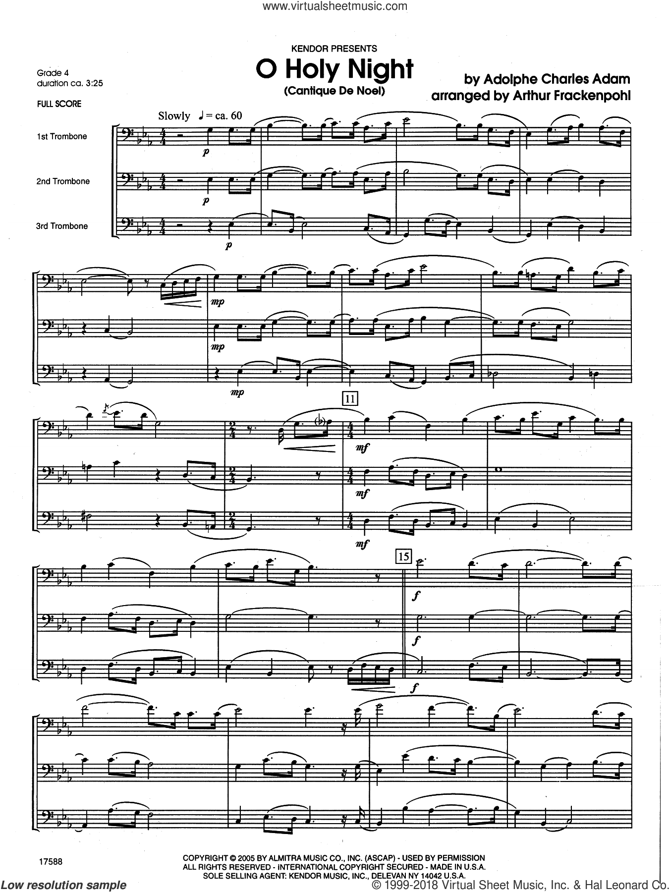 O Holy Night (Cantique de Noel) (COMPLETE) sheet music for trombone trio by Arthur Frackenpohl and Adolphe Adam, Christmas carol score, intermediate trombone trio. Score Image Preview.