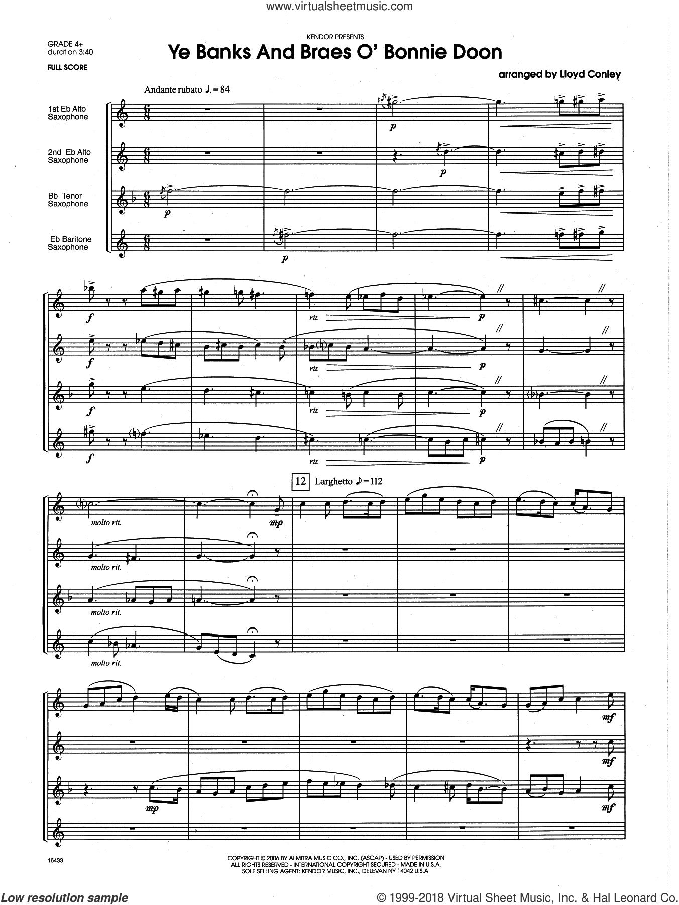Ye Banks and Braes o' Bonnie Doon (COMPLETE) sheet music for saxophone quartet by Lloyd Conley, intermediate. Score Image Preview.