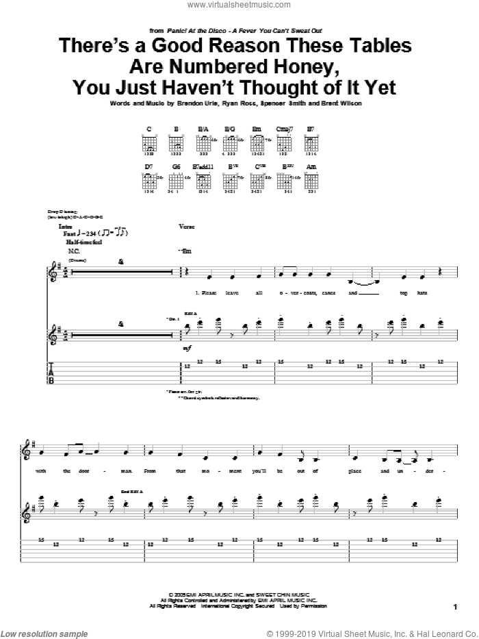 There's A Good Reason These Tables Are Numbered Honey, You Just Haven't Thought Of It Yet sheet music for guitar (tablature) by Panic! At The Disco. Score Image Preview.