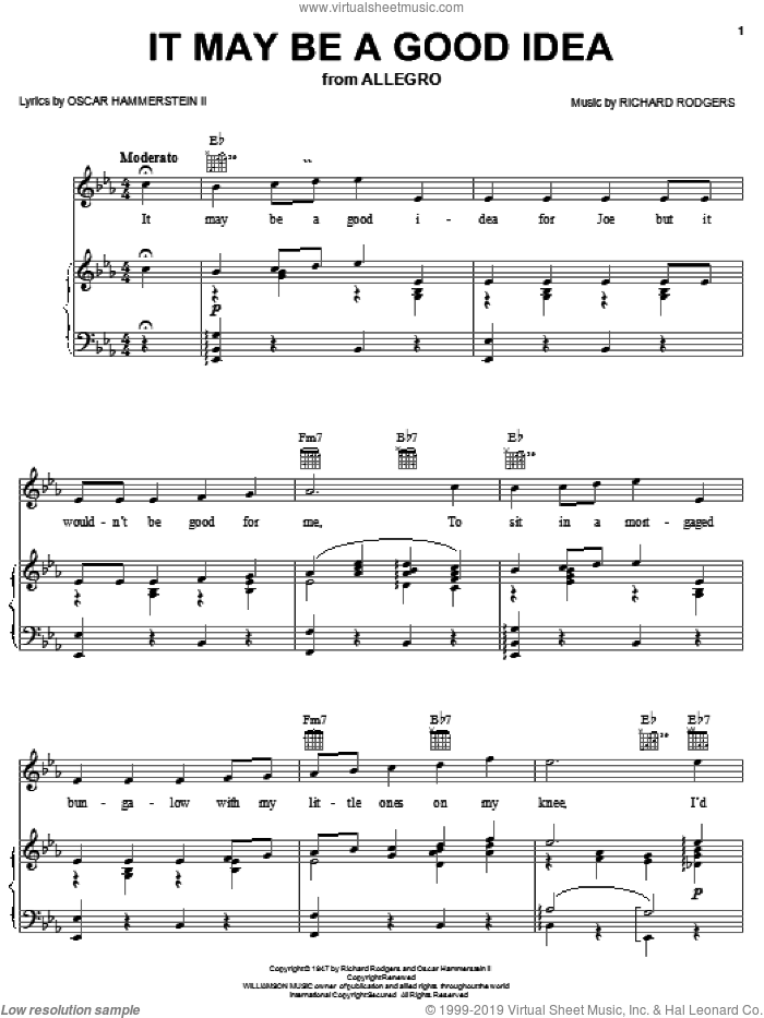 It May Be A Good Idea sheet music for voice, piano or guitar by Richard Rodgers, Rodgers & Hammerstein and Oscar II Hammerstein. Score Image Preview.