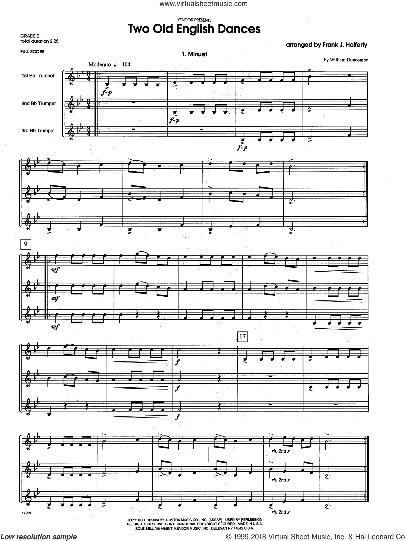 Two Old English Dances (COMPLETE) sheet music for three trumpets by Frank J. Halferty, intermediate. Score Image Preview.