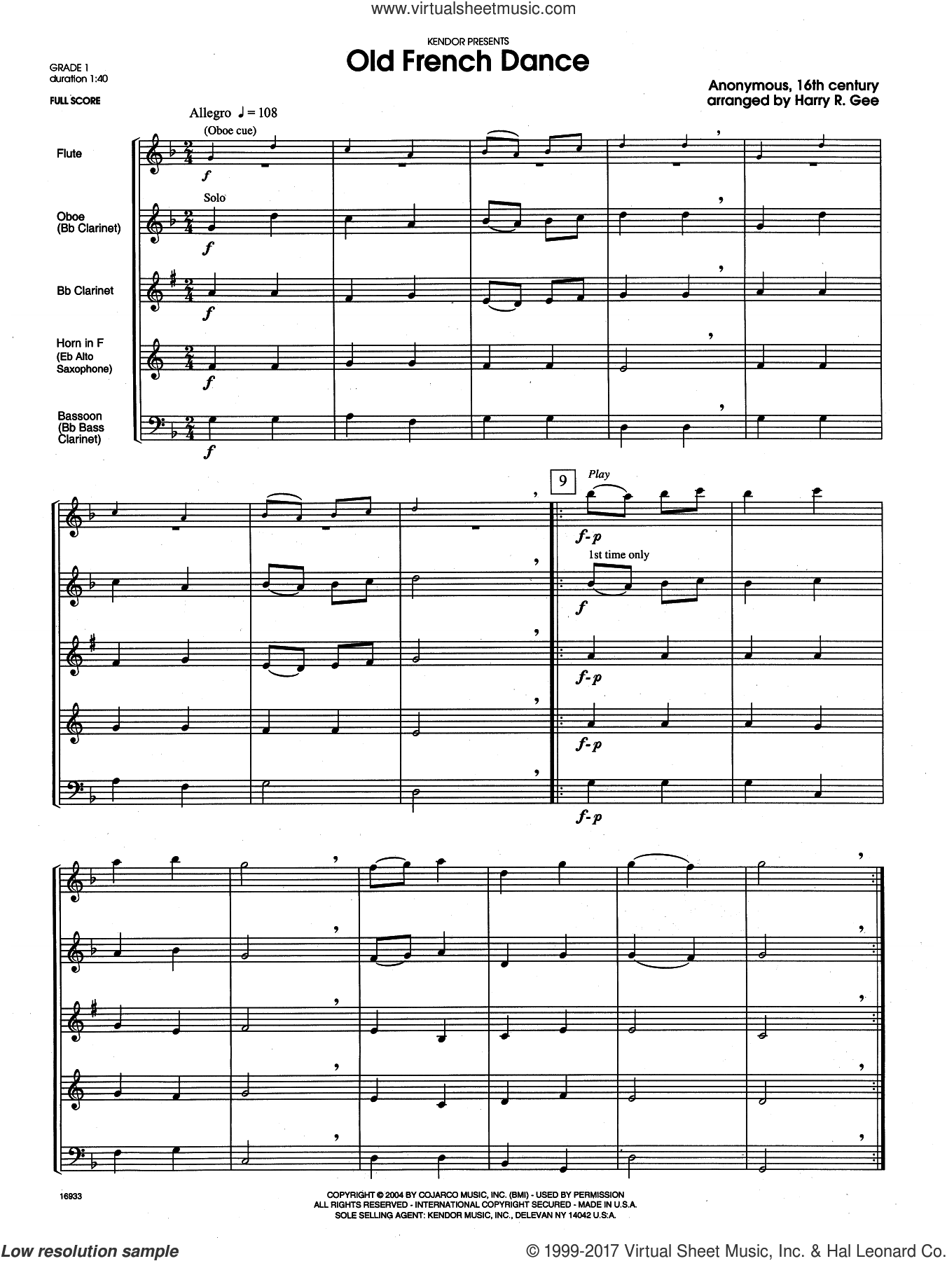 Old French Dance (COMPLETE) sheet music for wind quintet by Harry Gee, intermediate skill level