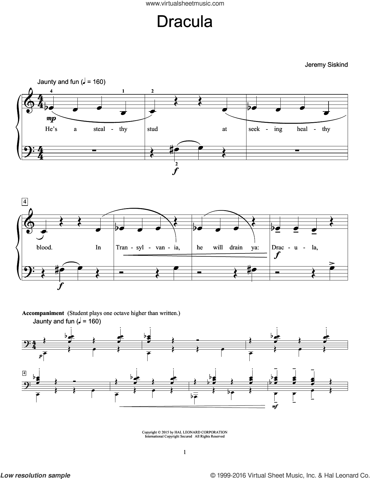 Dracula sheet music for piano solo (elementary) by Jeremy Siskind, beginner piano (elementary)