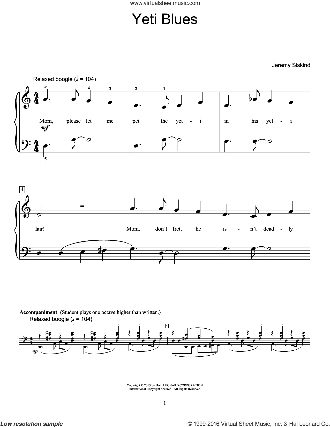 Yeti Blues sheet music for piano solo (elementary) by Jeremy Siskind. Score Image Preview.