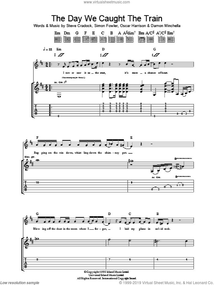 The Day We Caught The Train sheet music for guitar (tablature) by Ocean Colour Scene, Damon Minchella, Oscar Harrison, Simon Fowler and Steve Cradock, intermediate skill level