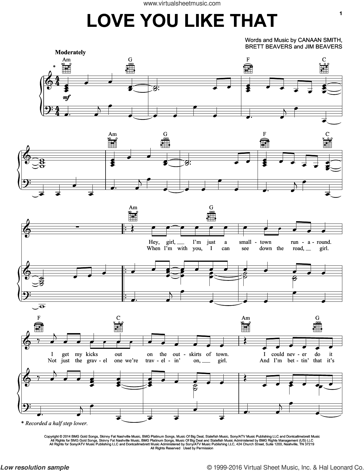 Love You Like That sheet music for voice, piano or guitar by Canaan Smith, Brett Beavers and Jim Beavers, intermediate skill level