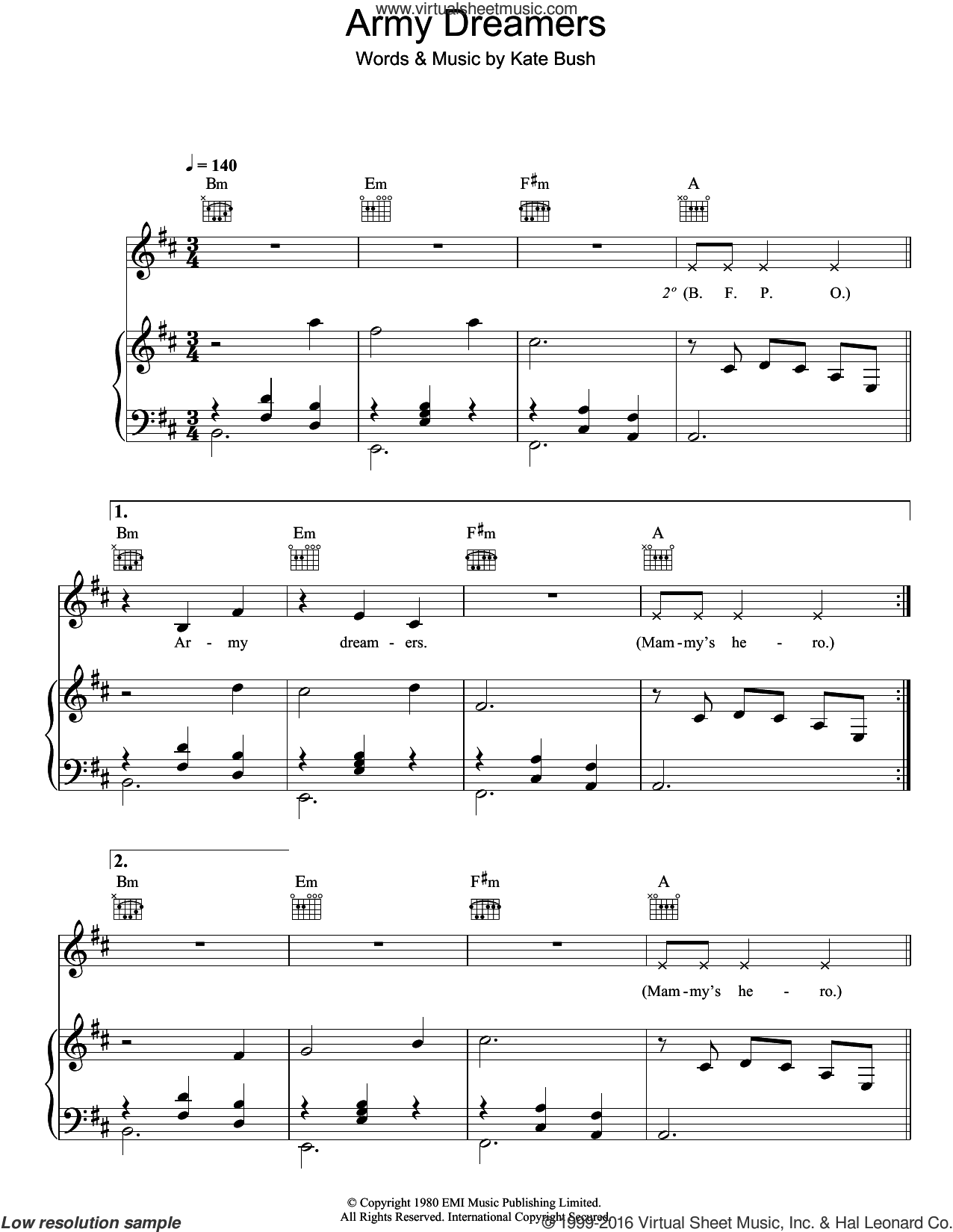 Army Dreamers sheet music for voice, piano or guitar by Kate Bush. Score Image Preview.