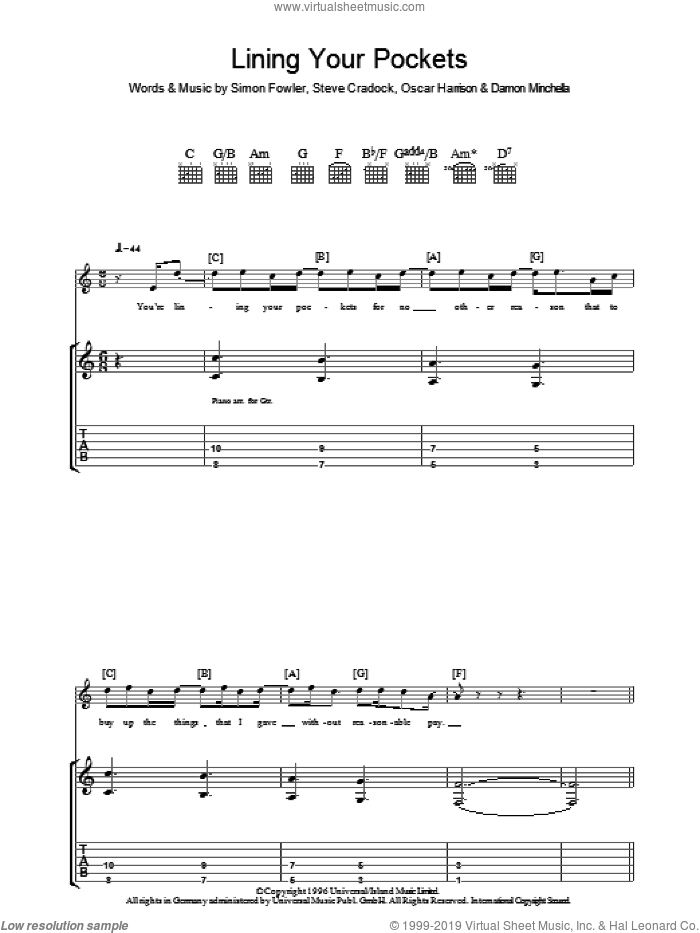Lining Your Pockets sheet music for guitar (tablature) by Ocean Colour Scene, Damon Minchella, Oscar Harrison, Simon Fowler and Steve Cradock, intermediate. Score Image Preview.
