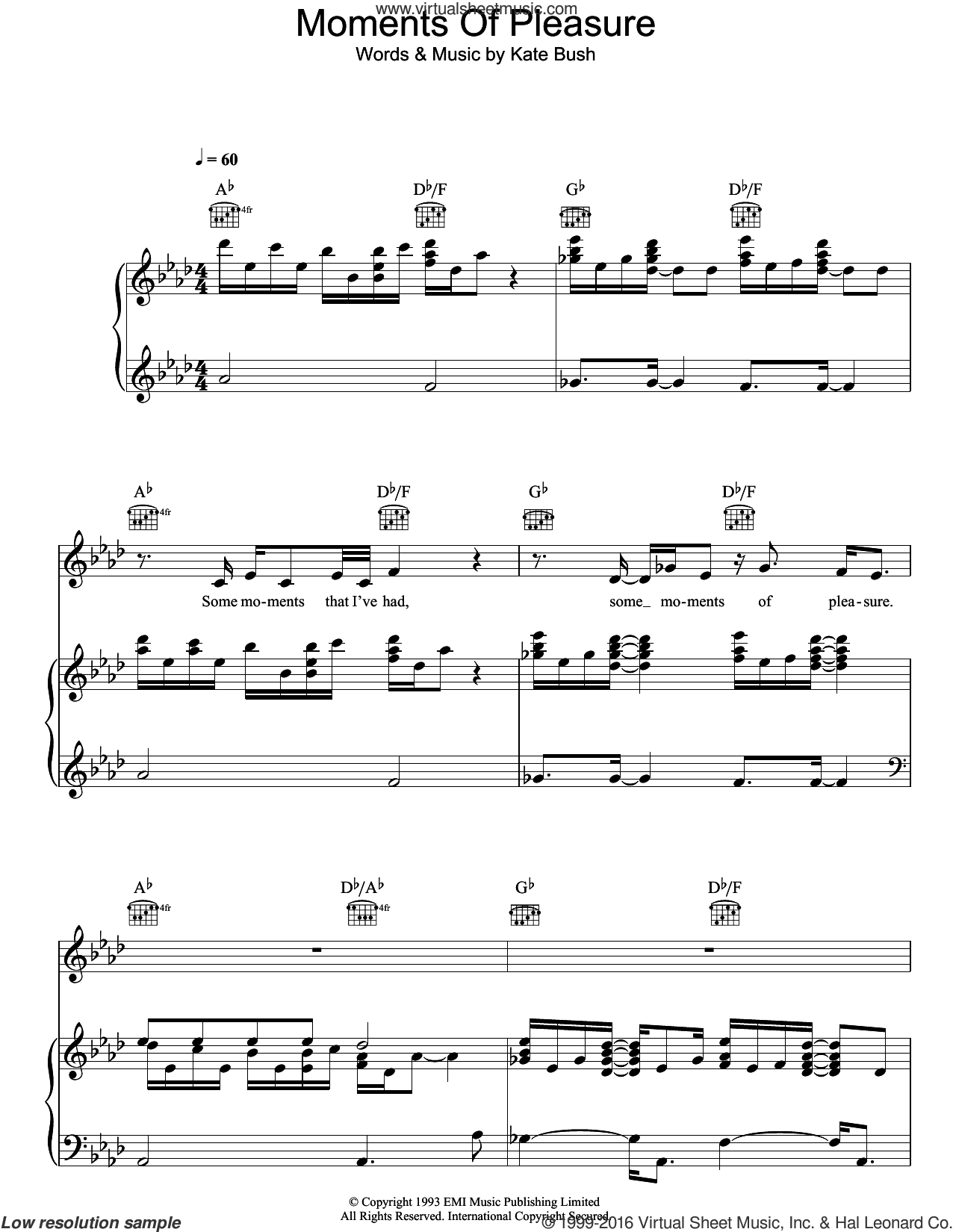 Moments Of Pleasure sheet music for voice, piano or guitar by Kate Bush, intermediate skill level