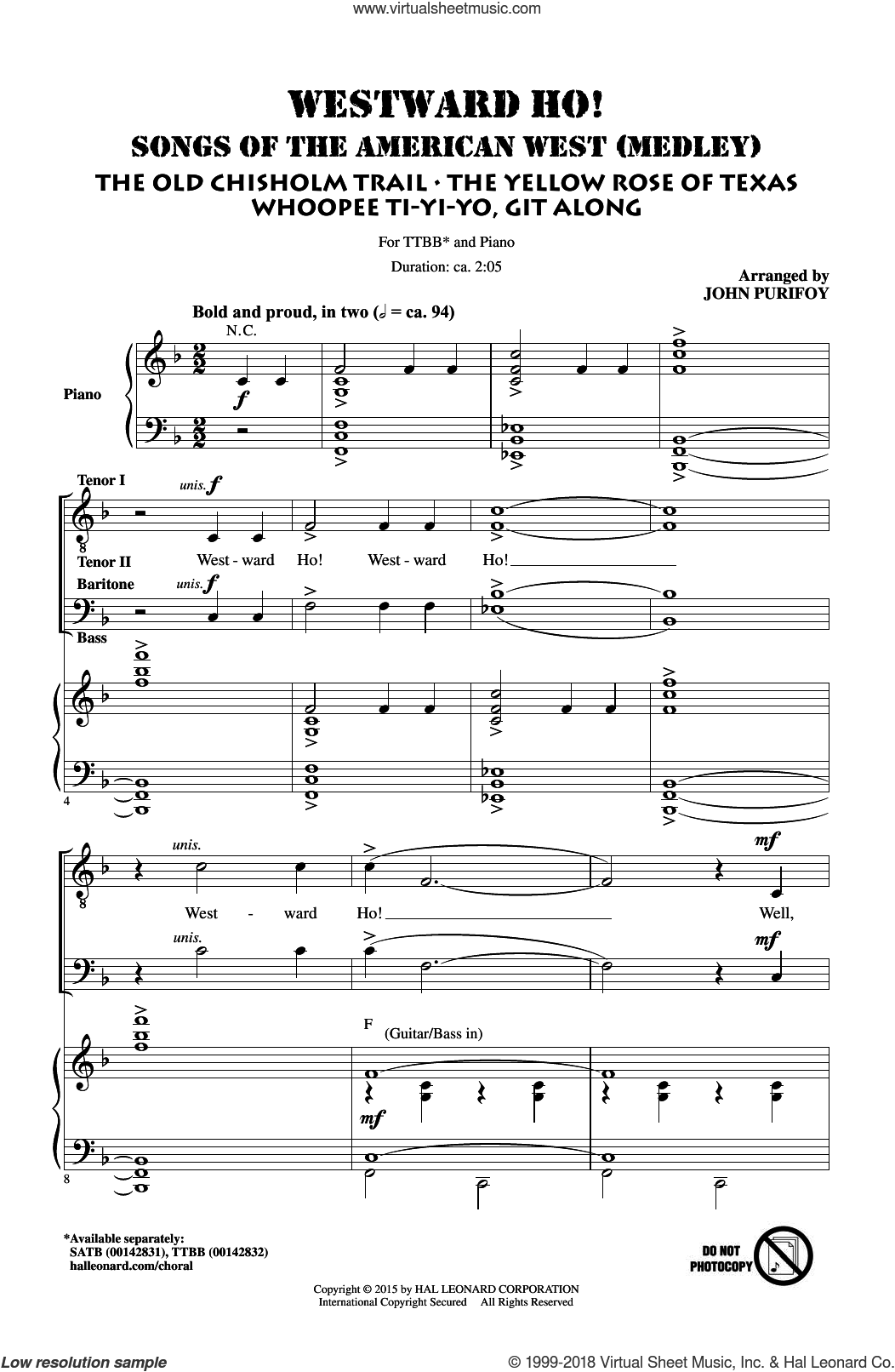 Westward Ho! Songs of the American West (Medley) sheet music for choir (tenor voice, bass voice, choir) by John Purifoy, intermediate choir (tenor voice, bass voice, choir). Score Image Preview.