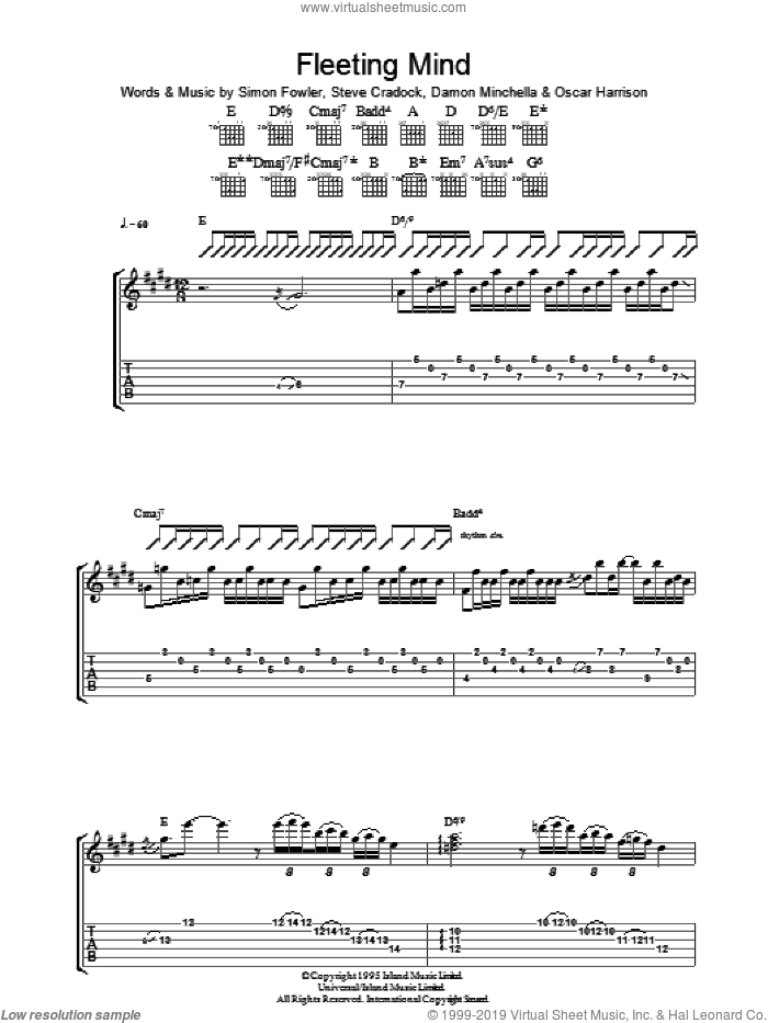 Fleeting Mind sheet music for guitar (tablature) by Ocean Colour Scene, intermediate guitar (tablature). Score Image Preview.