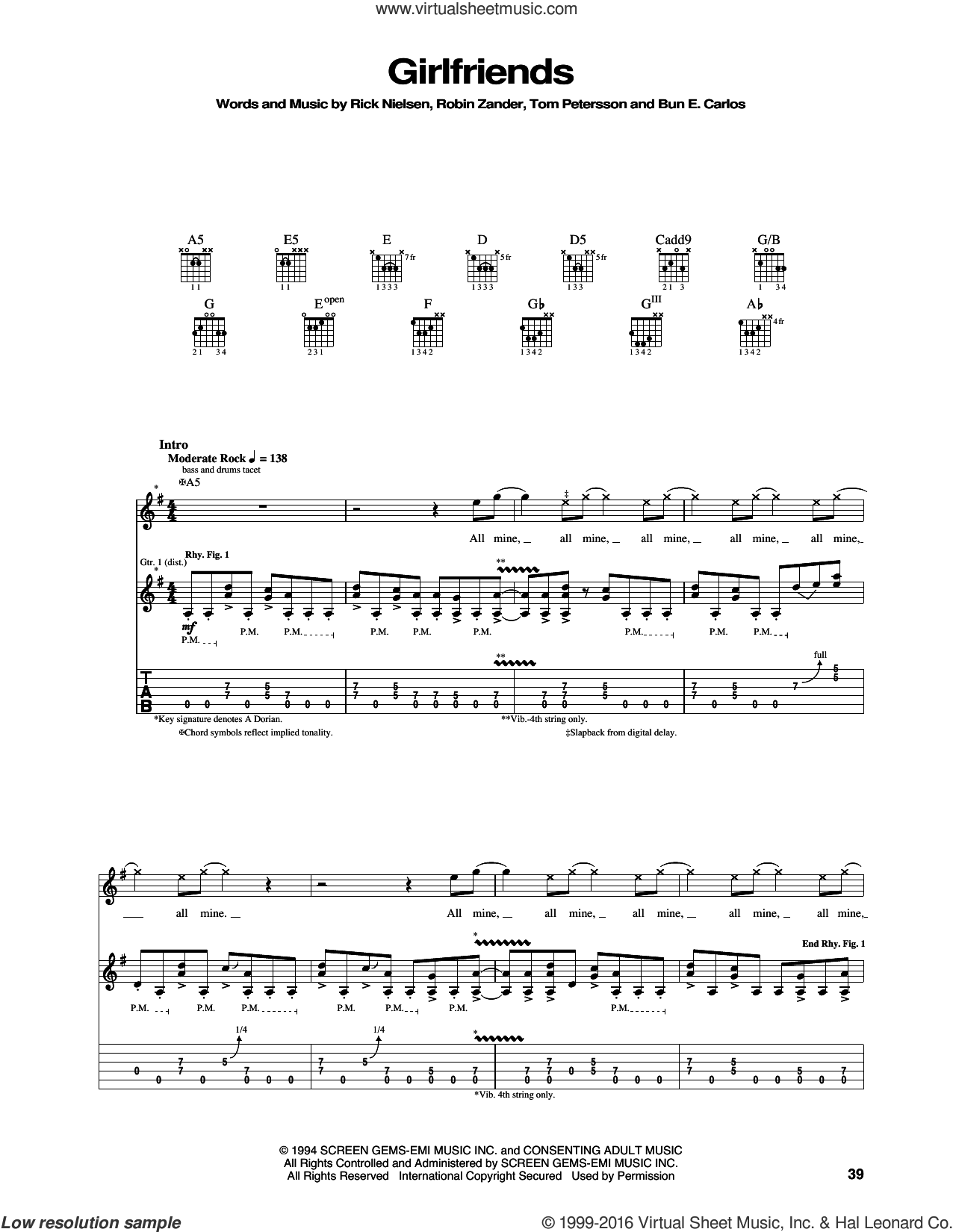 Girlfriends sheet music for guitar (tablature) by Cheap Trick, intermediate guitar (tablature). Score Image Preview.