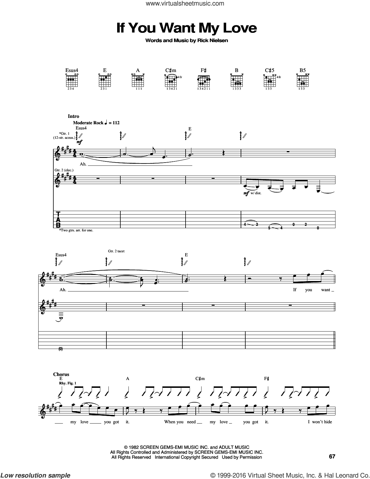 If You Want My Love sheet music for guitar (tablature) by Rick Nielsen and Cheap Trick. Score Image Preview.