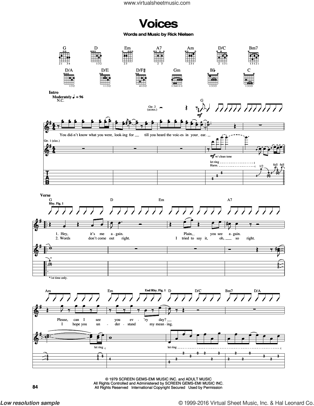 Voices sheet music for guitar (tablature) by Cheap Trick and Rick Nielsen, intermediate. Score Image Preview.