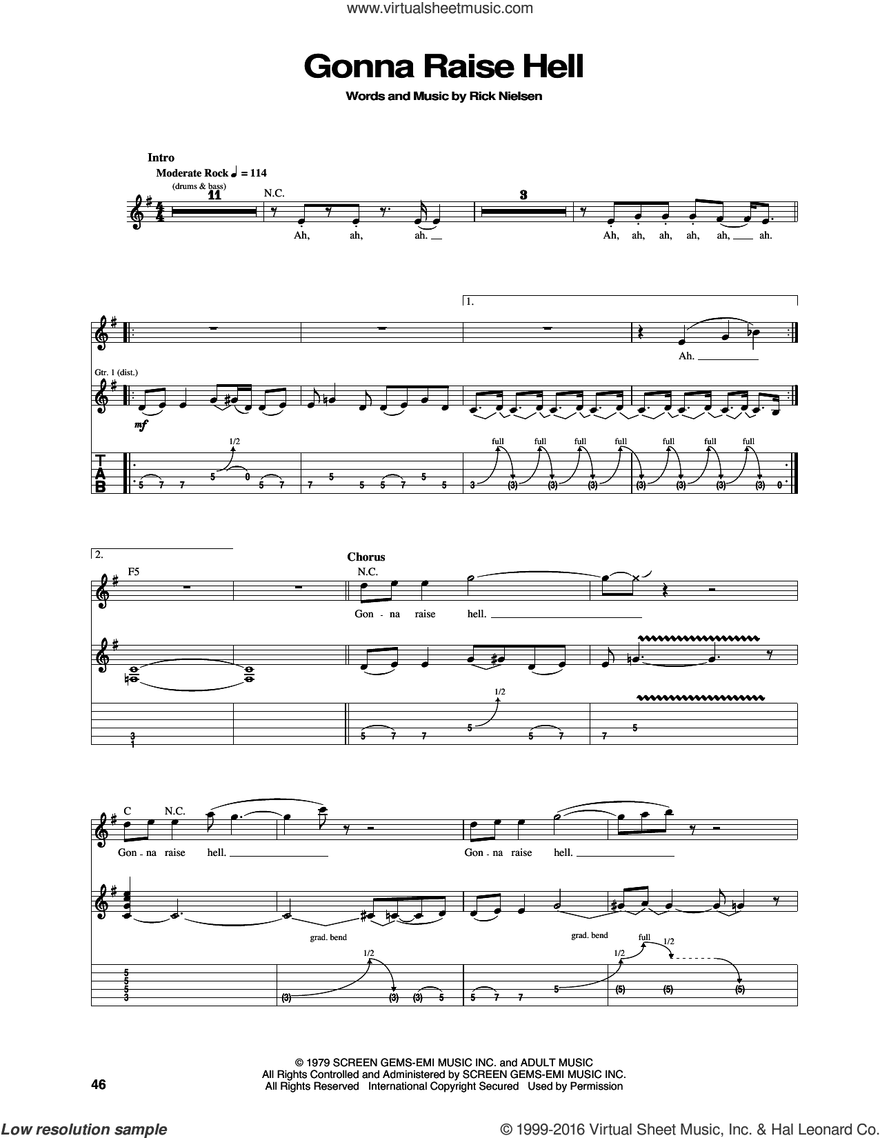Gonna Raise Hell sheet music for guitar (tablature) by Cheap Trick. Score Image Preview.