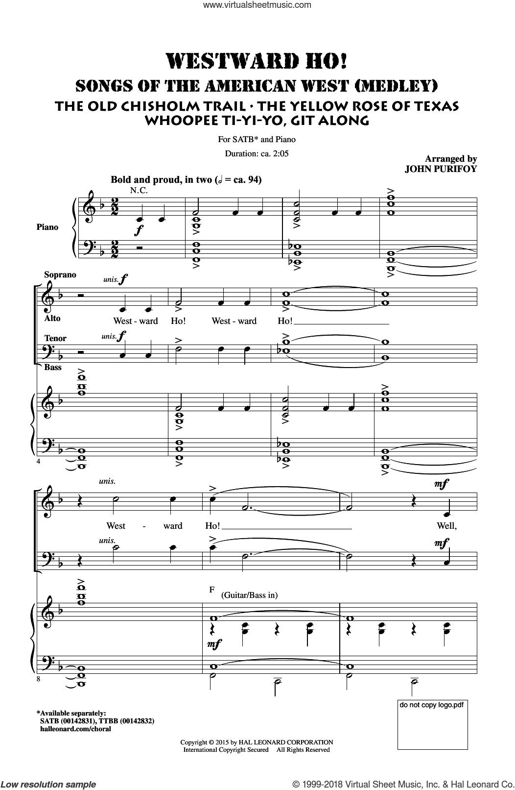 Westward Ho! Songs of the American West (Medley) sheet music for choir (SATB: soprano, alto, tenor, bass) by John Purifoy, intermediate