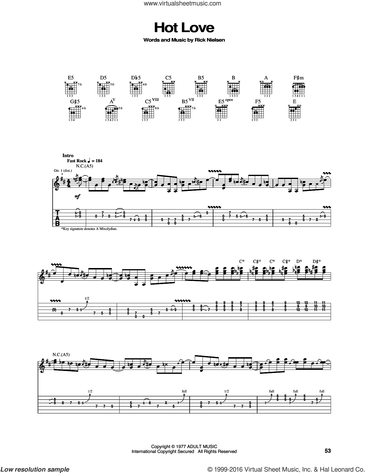 Hot Love sheet music for guitar (tablature) by Rick Nielsen