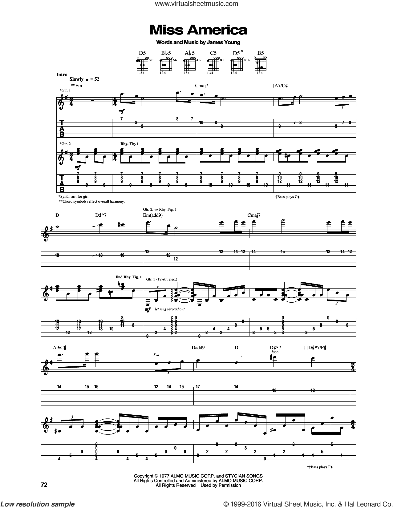 Miss America sheet music for guitar (tablature) by Styx and James Young, intermediate skill level
