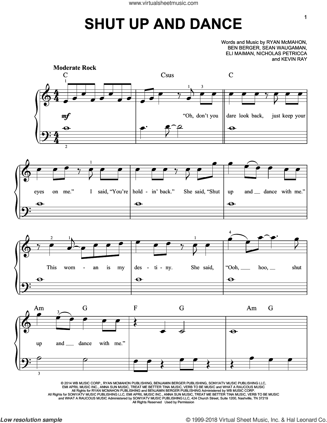 Shut Up And Dance sheet music for piano solo by Walk The Moon, Ben Berger, Eli Maiman, Kevin Ray, Nicholas Petricca, Ryan McMahon and Sean Waugaman, beginner skill level