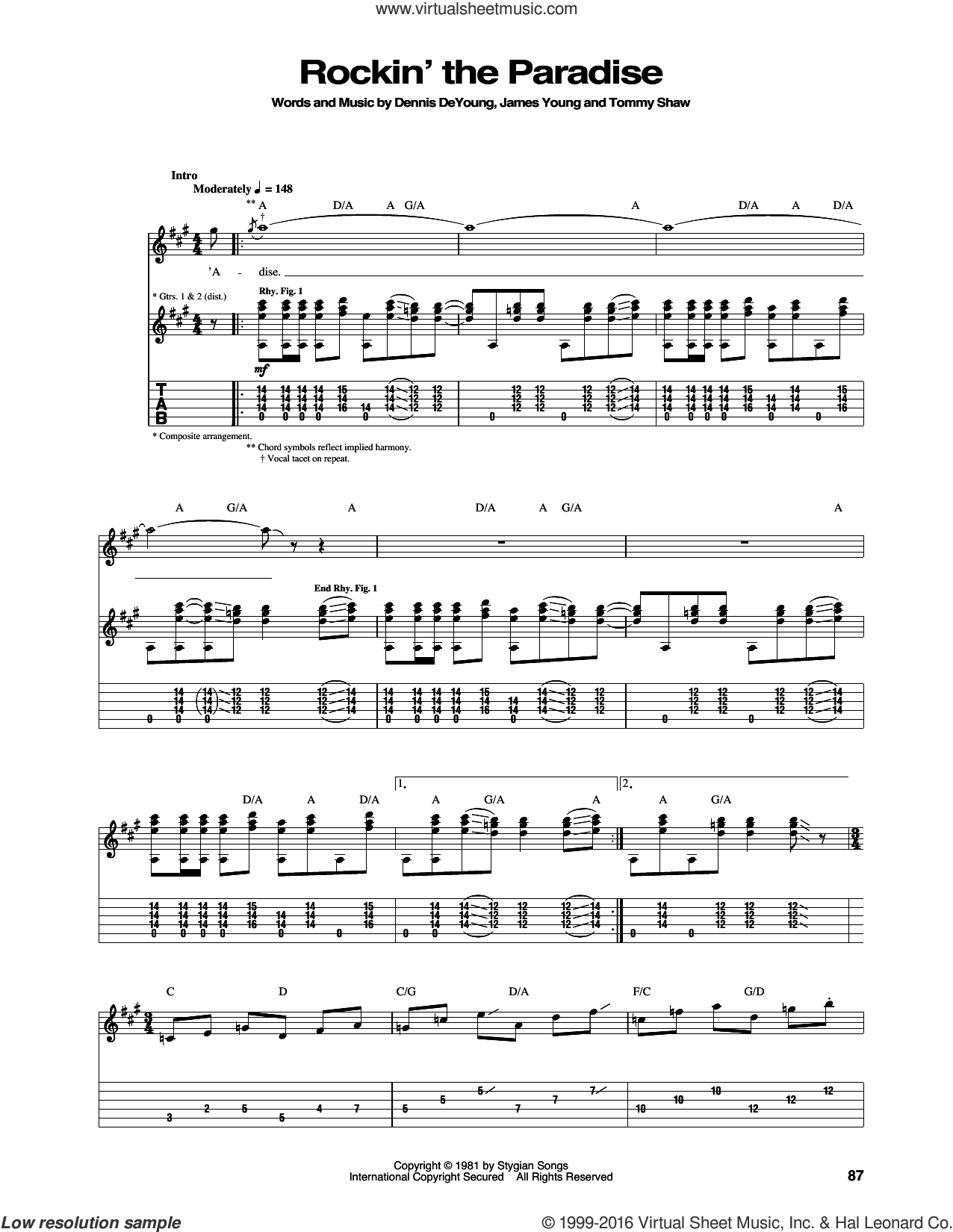 Rockin' The Paradise sheet music for guitar (tablature) by Styx, Dennis DeYoung, James Young and Tommy Shaw, intermediate skill level