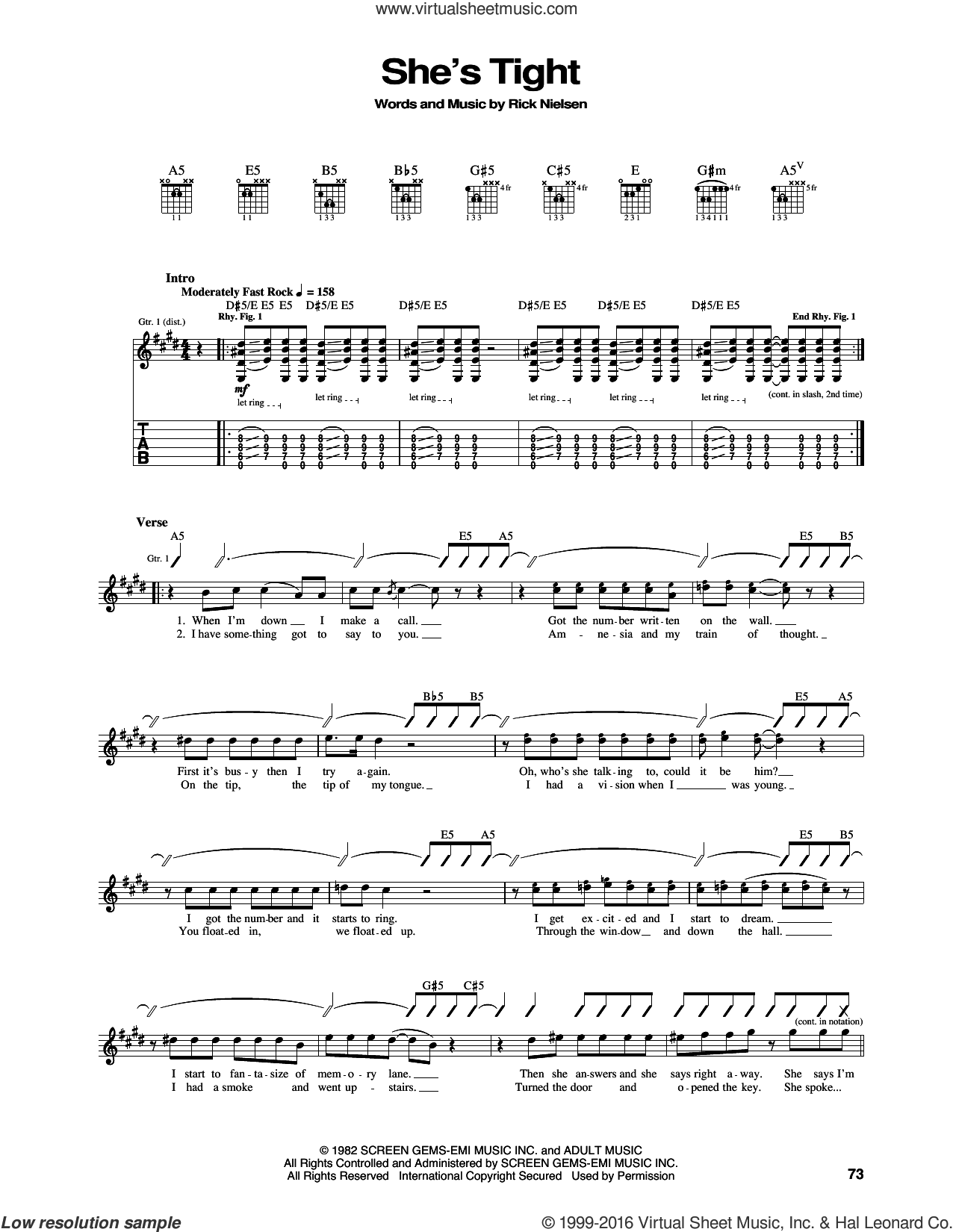 She's Tight sheet music for guitar (tablature) by Cheap Trick and Rick Nielsen, intermediate skill level