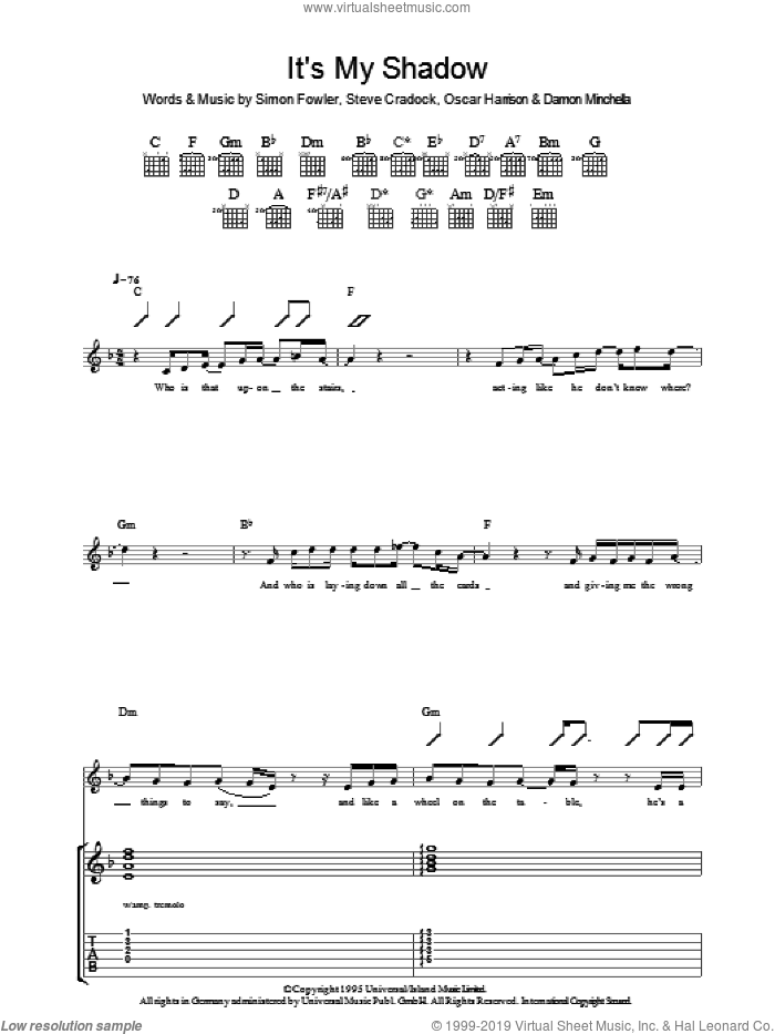 It's My Shadow sheet music for guitar (tablature) by Ocean Colour Scene, Damon Minchella, Oscar Harrison, Simon Fowler and Steve Cradock, intermediate skill level