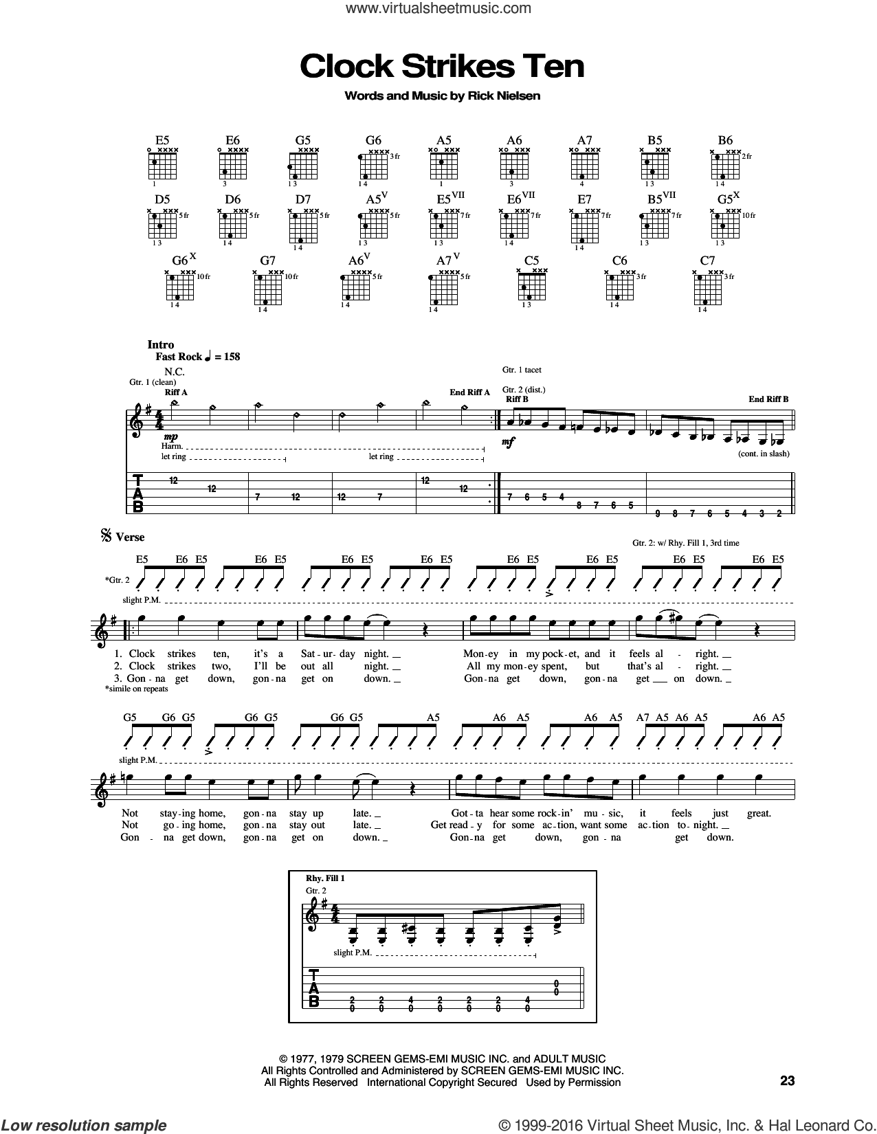 Clock Strikes Ten sheet music for guitar (tablature) by Cheap Trick, intermediate. Score Image Preview.